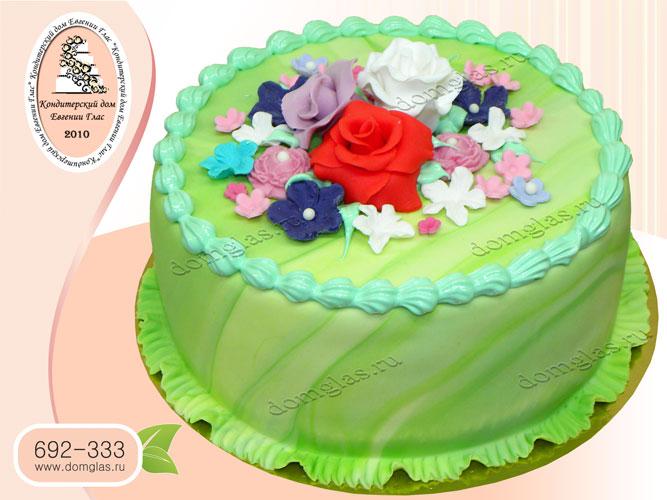 торт женский цветы розы незабудки