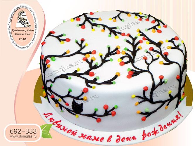 торт женский ветви цветы маме