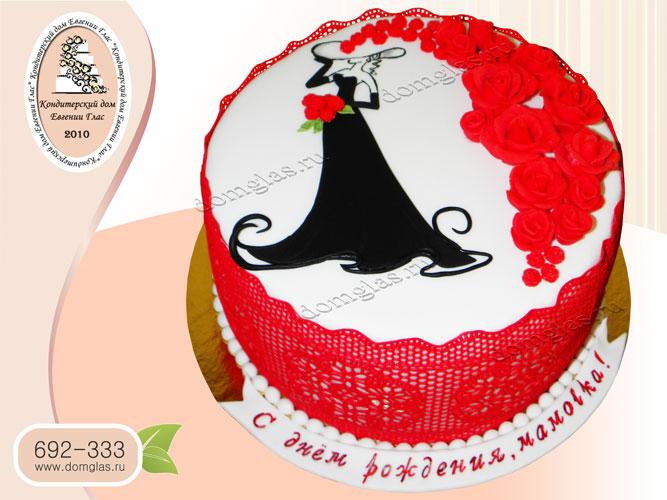 торт женский дама цветы розы