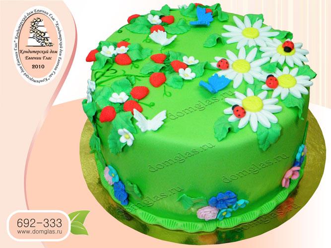 торт женский полянка земляники