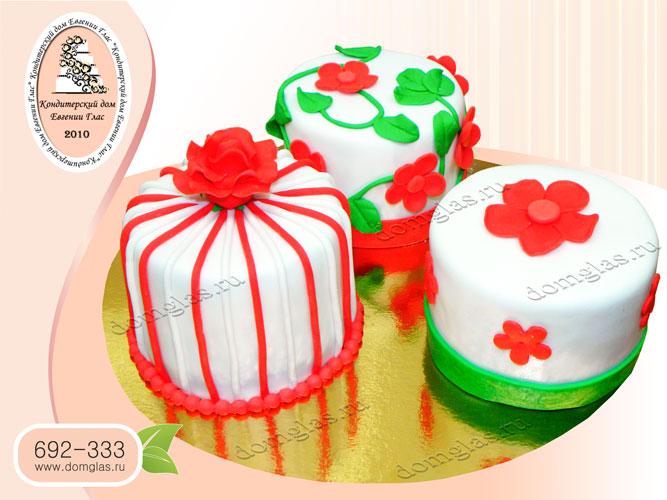 торт женский мини торты мастичные цветы