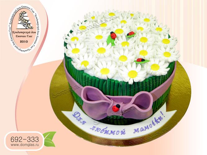торт женский букет ромашек