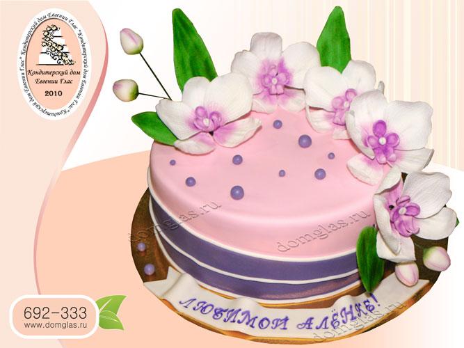 торт женский с цветами орхидея
