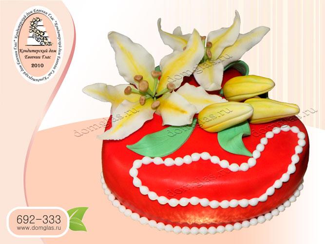 торт женский сердце жемчужные бусы цветы лилии