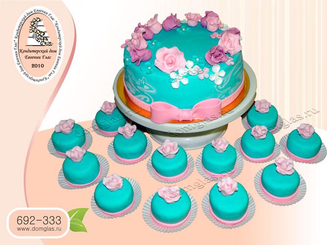 торт женский цветы капкейки с цветами