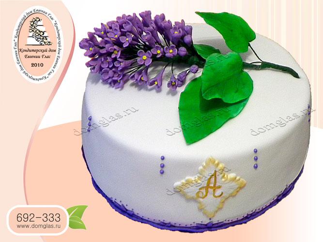торт женский цветы сирень