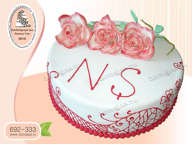 торт женский цветы розы