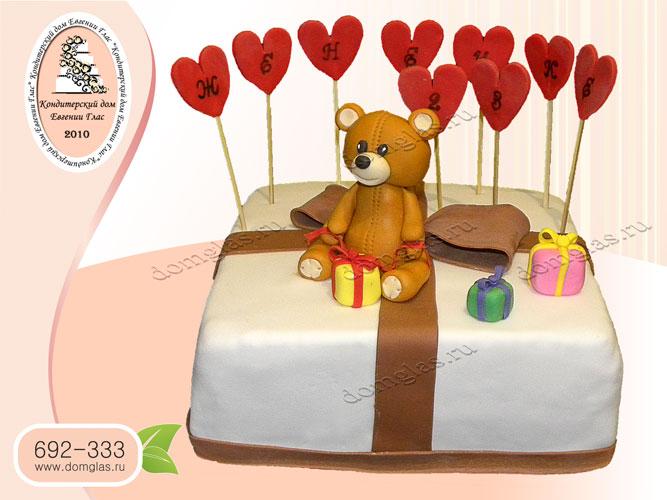 торт женский сердечки игрушки мишка