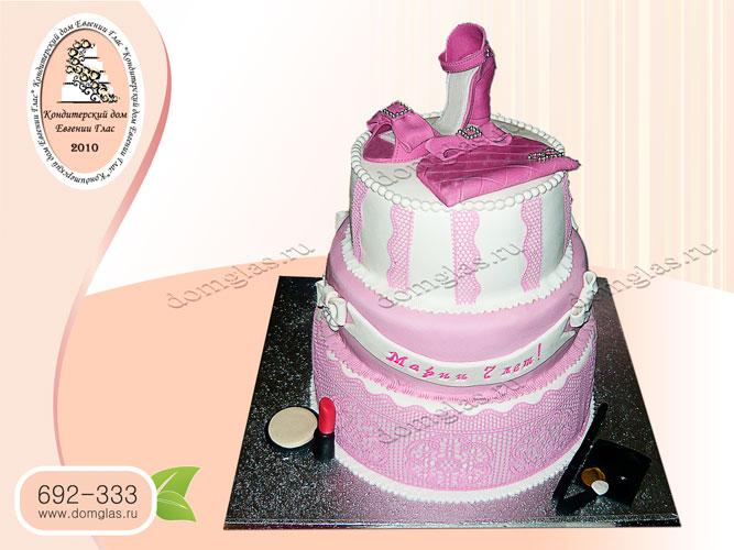 торт женский трехъярусный туфля сумочка косметика