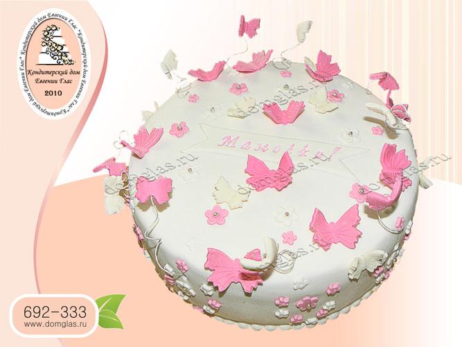 торт женский бабочки цветочки