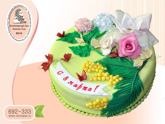 торт женский цветы розы мимоза гвоздики 8 марта