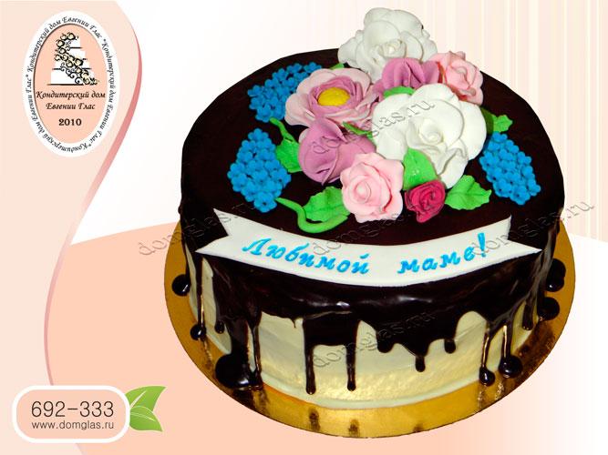 торт женский шоколад цветы розы сирень