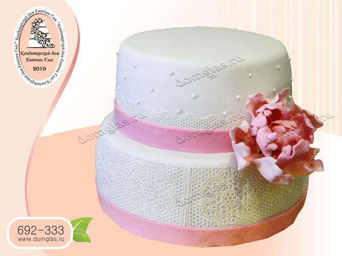торт женский двухъярусный с цветком