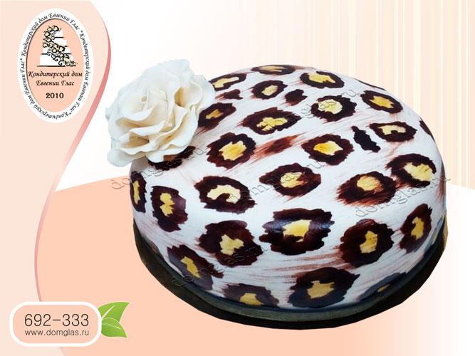 торт женский цветок роза леопард