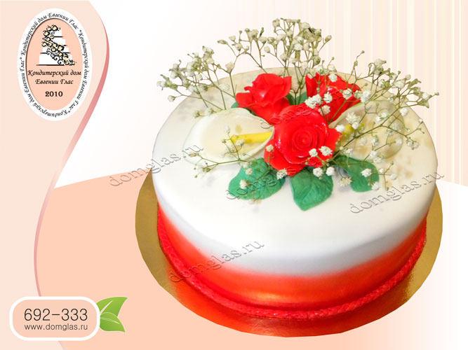 торт женский цветы розы калы