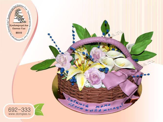 торт женский корзина с цветами розы лилии калы