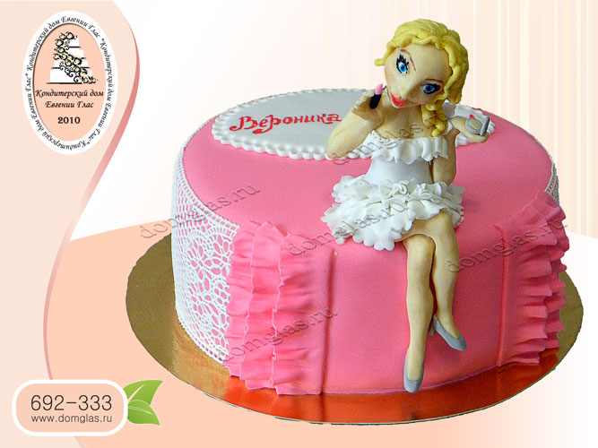 торт женский девушка с косметикой