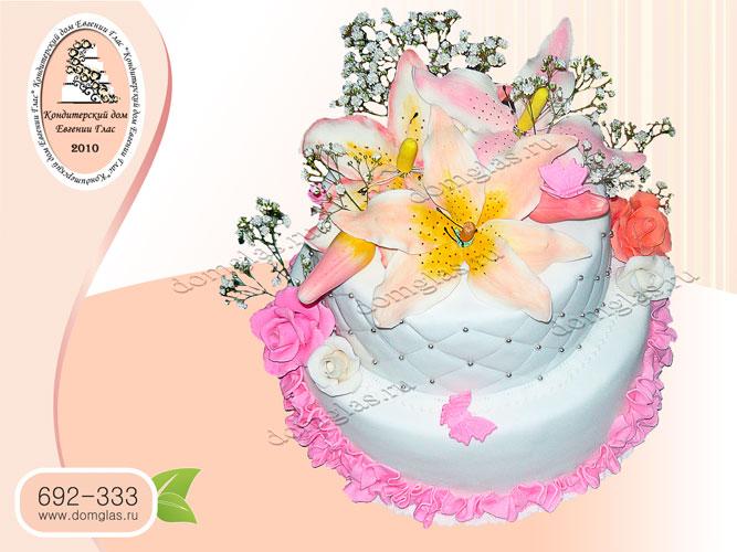 торт женский двухъярусный цветы лилии