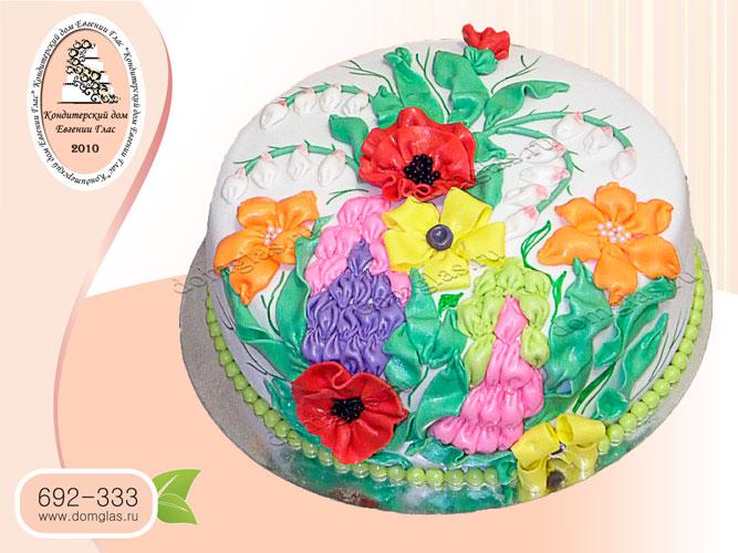 торт женский вышивка лентами цветы