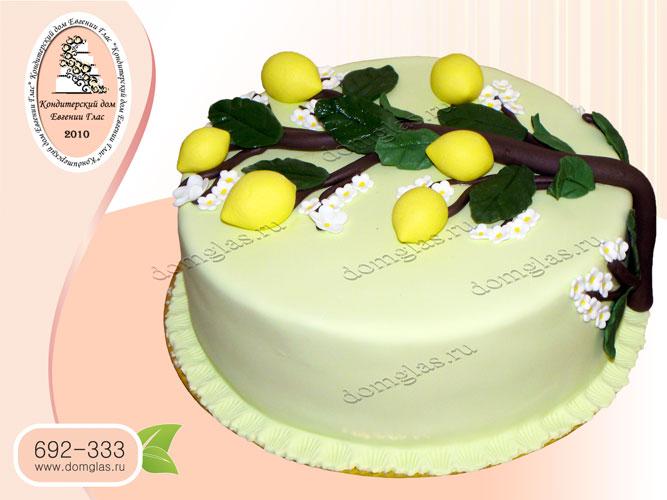 торт женский ветка лимонов цветочки