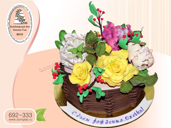 торт женский цветы корзина розы