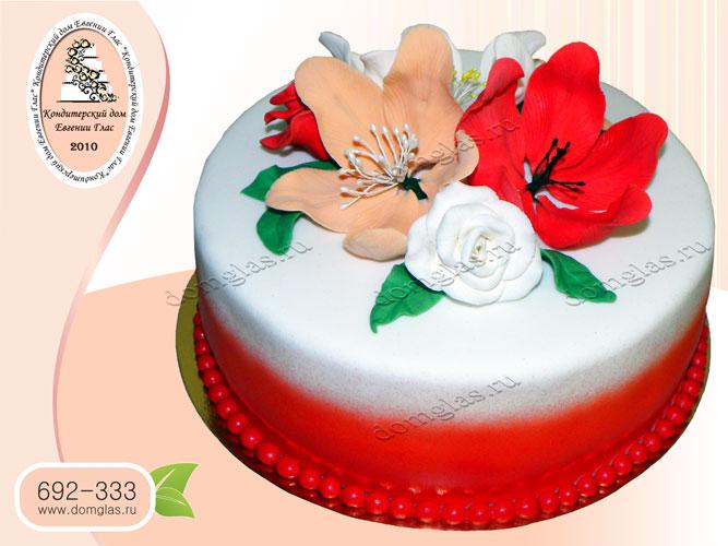 торт женский цветы розы лилии