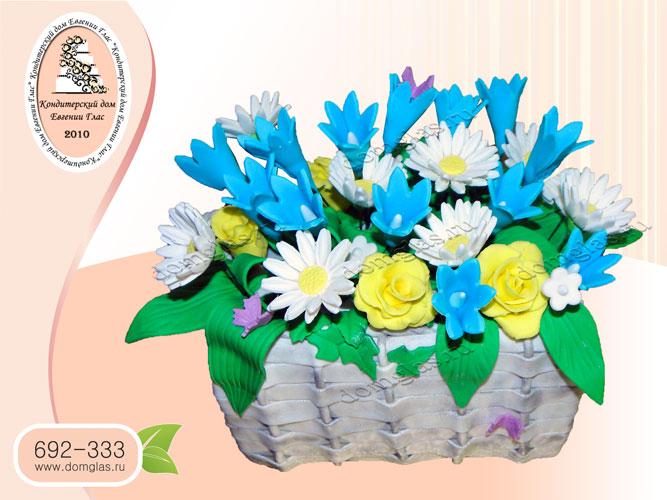 торт женский корзина с полевыми цветами