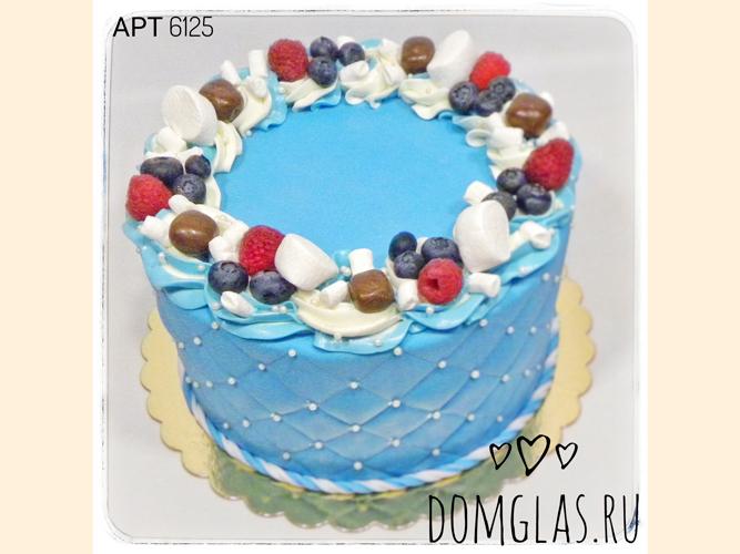 женский голубой с бусинками, ягодами маршмелоу