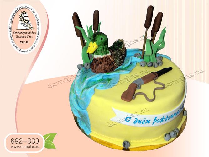 торт мужской охота утка ружье камыши