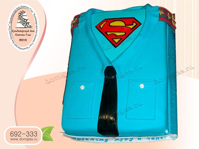 торт мужской рубашка галстук погоны супермен