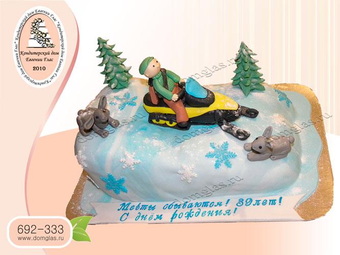 торт мужской охотник зайцы елки снегоход