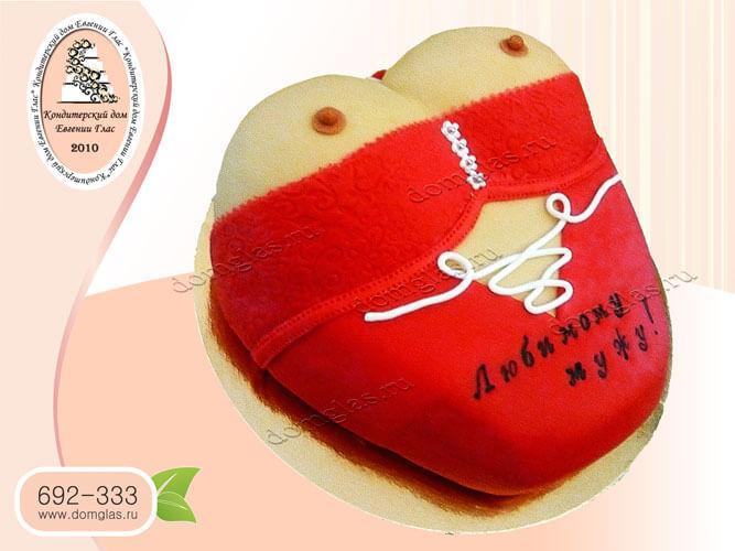 торт для взрослых грудь бюст красный корсет