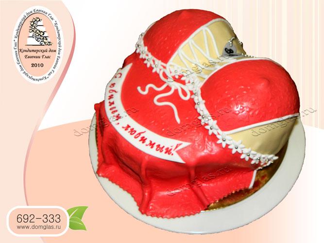 торт для взрослых грудь красный пеньюар