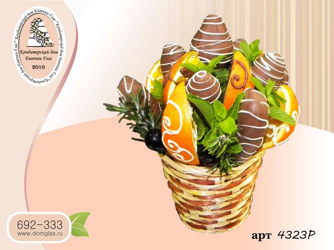 р корзинка кашпо фрукты в шоколаде