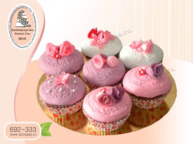 капкейки день рождения розовые цветы