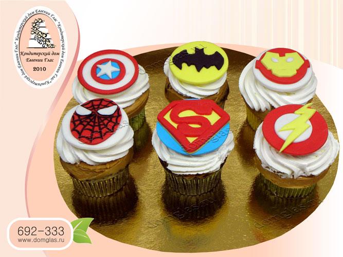 капкейки супергерои эмблемы человек паук супермен