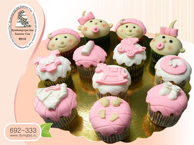капкейки детские мастичные малыши бело-розовые