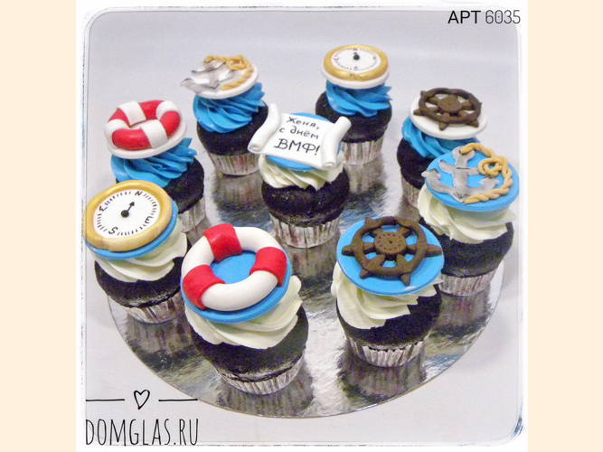 пирожные капкейки морская тема ко Дню ВМФ