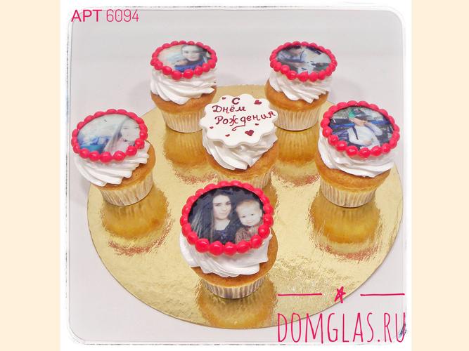 пирожные капкейки с фотопечатью на день рождения