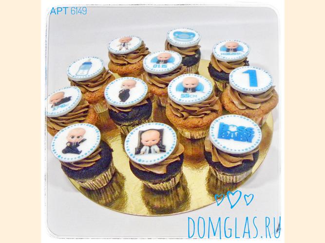 пирожные капкейки с фотопечатью Босс Молокосос