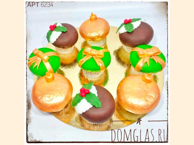 пирожные капкейки новогодние елочные игрушки