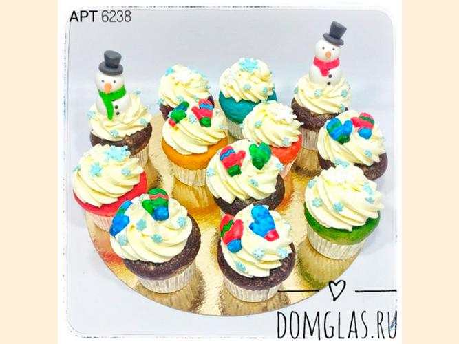 пирожные капкейки снеговики 3D яркие