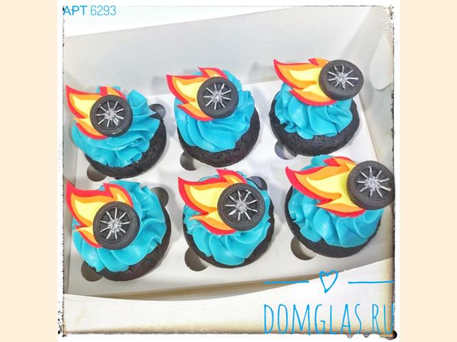 пирожные капкейки с колесами и огнем фотопечать