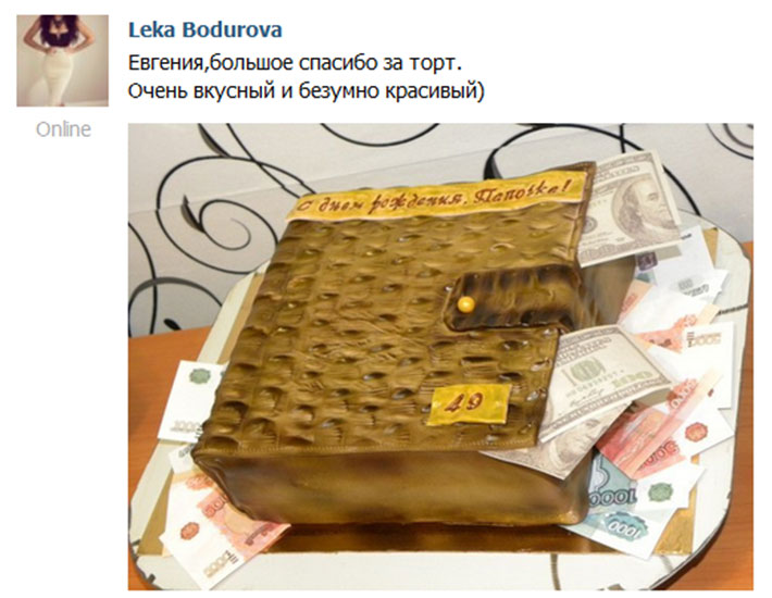 отзыв клиента торт мужской портмоне деньги