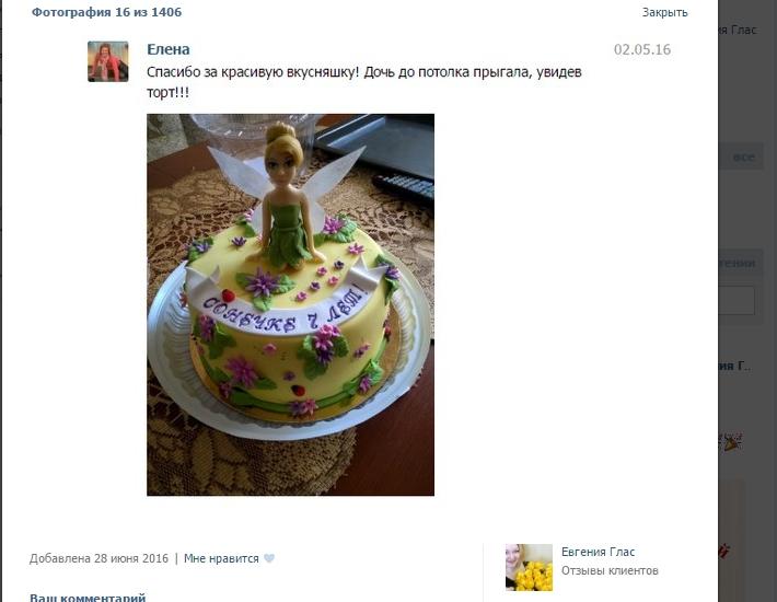отзыв клиента торт детский фея динь динь