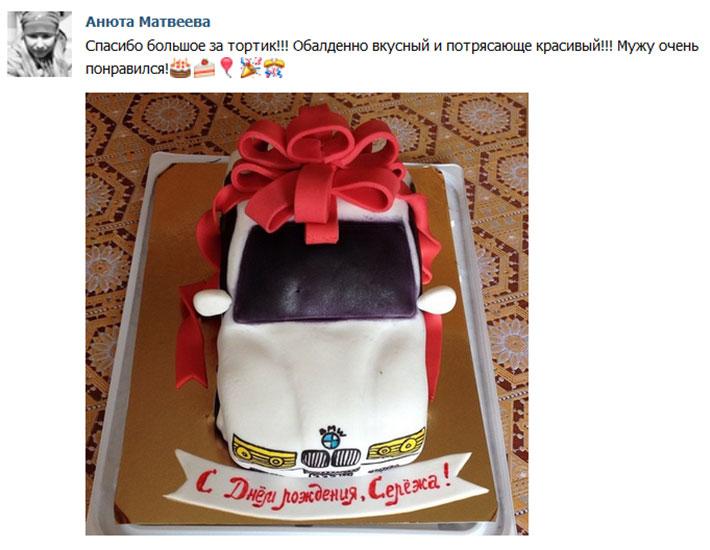 отзыв клиента торт мужской машина