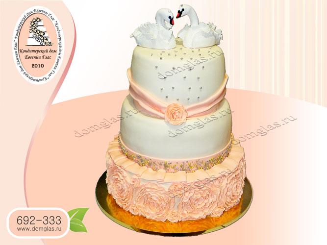 торт свадебный лебеди розы 3 яруса