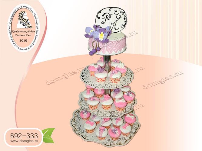 торт свадебный капкейки орхидея пастилаж цветы