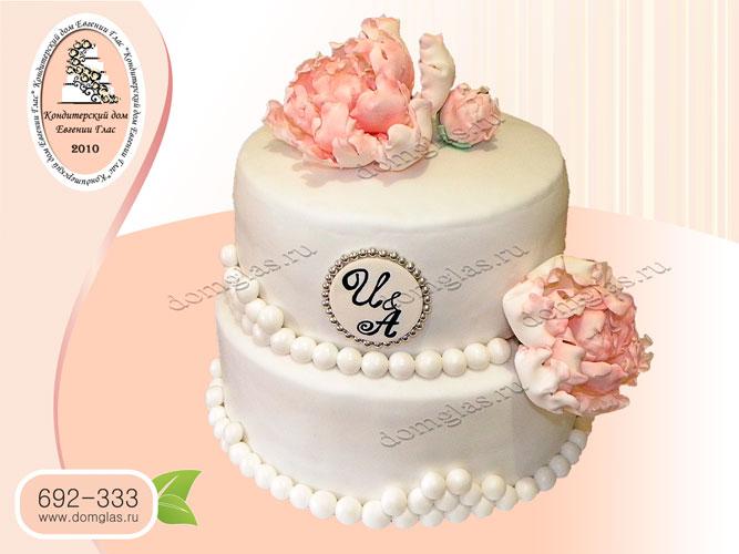 торт свадебный белый пион 2 яруса цветы