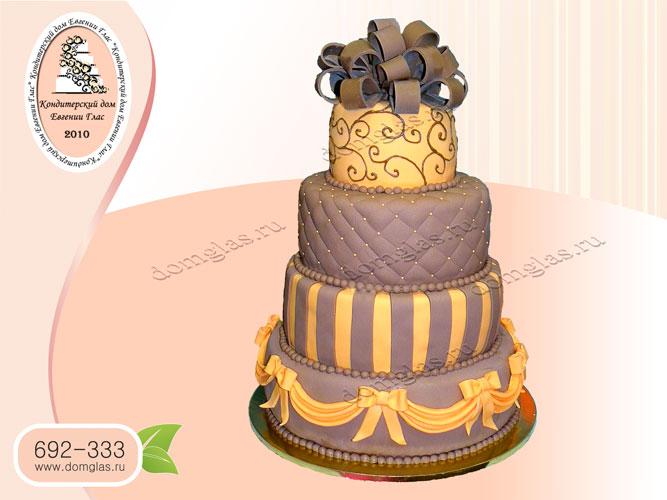 торт свадебный шоколадно оранжевый 3 яруса